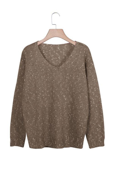 V Neck Long Sleeve Sweater - girlyrose.com