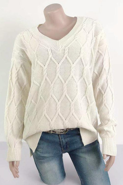 V Neck Loose Sweater - girlyrose.com