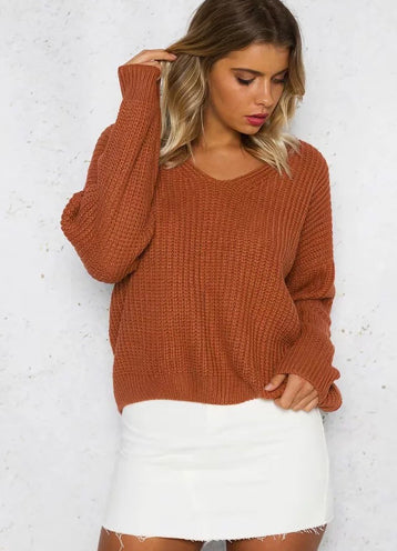 V Neck Solid Color Long Sleeve Knit Sweater