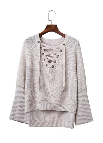 V Neck Solid Color Long Sleeve Knit Sweater - girlyrose.com