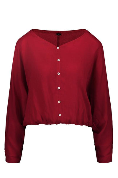 V Neck Solid Color Long Sleeve Loose Shirt