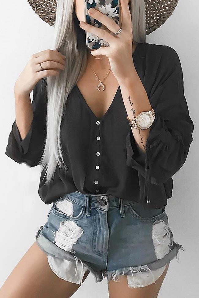 V Neck Solid Color Long Sleeve Loose Shirt - girlyrose.com