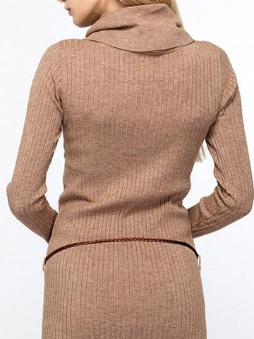 Vintage Turtleneck Solid Color Long Sweater Dress - girlyrose.com