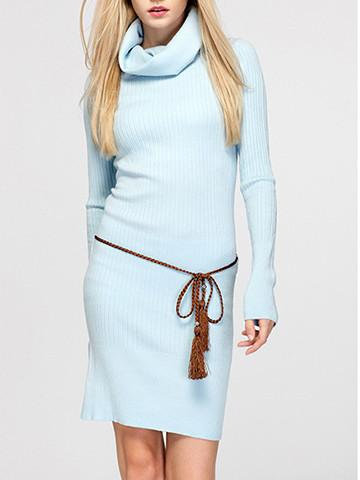 Vintage Turtleneck Solid Color Long Sweater Dress