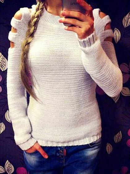 White Pure Color Open Shoulder Sweater - girlyrose.com