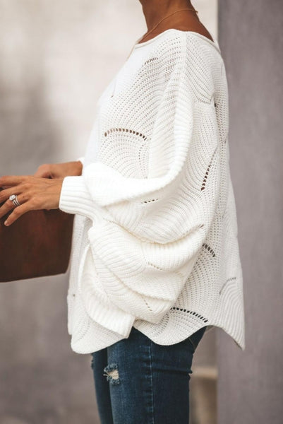 White Wave Hem Long Batwing Sleeve Hollow Out Elegant Sweater