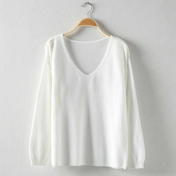 Women's Fashion Pure Color White Off Shoulder Sweater Top - girlyrose.com