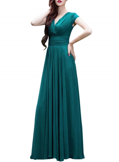 Wrapped V-neck High Waist Maxi Dress - girlyrose.com