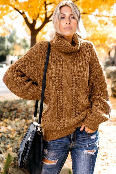 Yellow Chunky Turtleneck Sweater - girlyrose.com