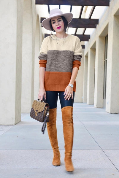Yellow Color Block Netted Texture Pullover Sweater - girlyrose.com
