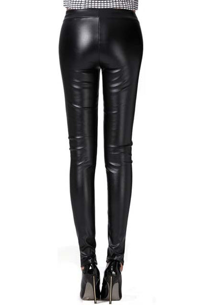 Zoe leather look leggings-black restocked - girlyrose.com