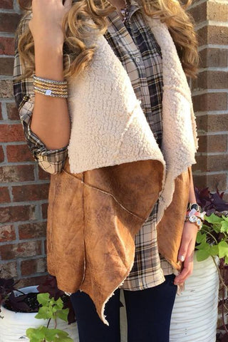 Lapel Faux Fur Vest - girlyrose.com