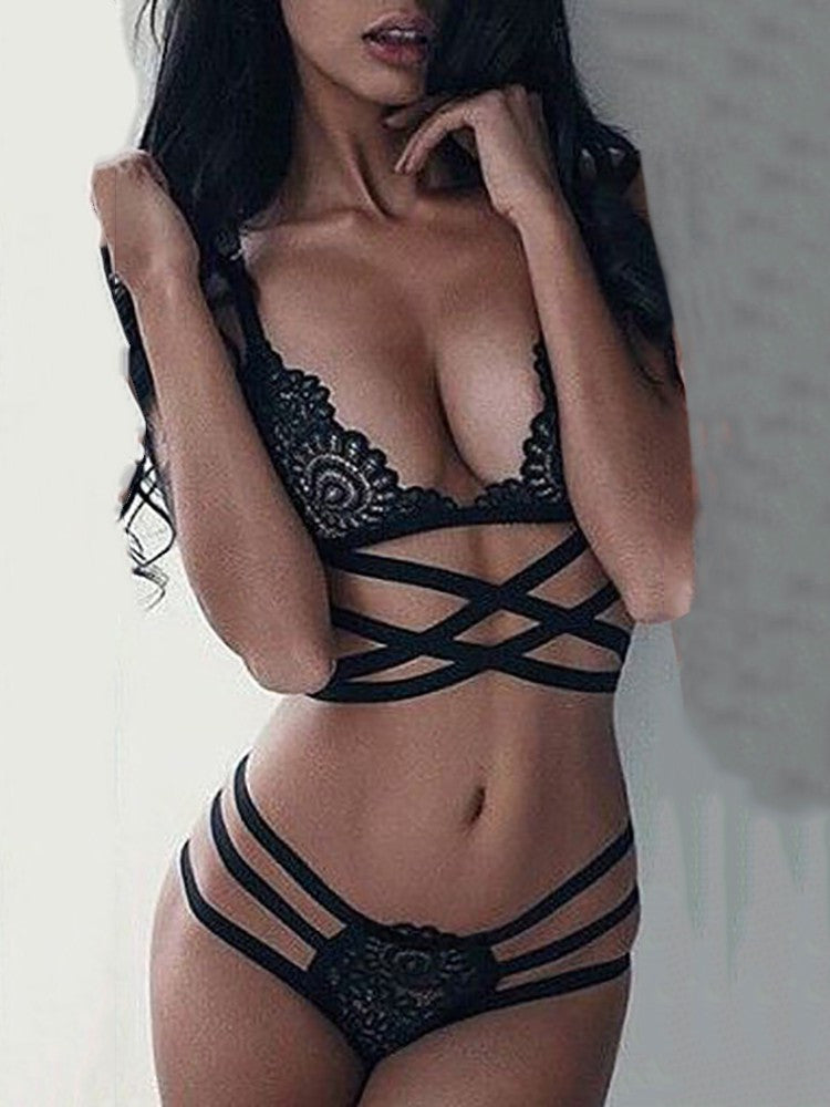 Alluring Stretchy Bandage Lace Lingerie Sets