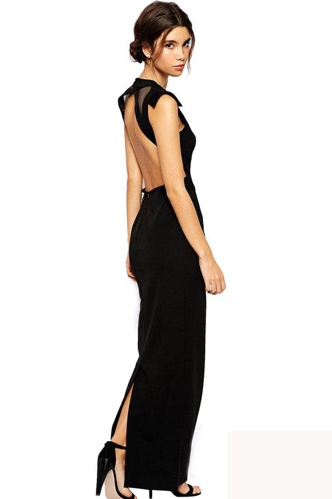 Black Cut-out Back Maxi Dress with Net Insert - girlyrose.com