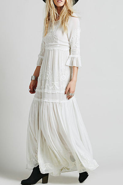 Bohemia Floral Embroidery Flounce Sleeve Dress - girlyrose.com