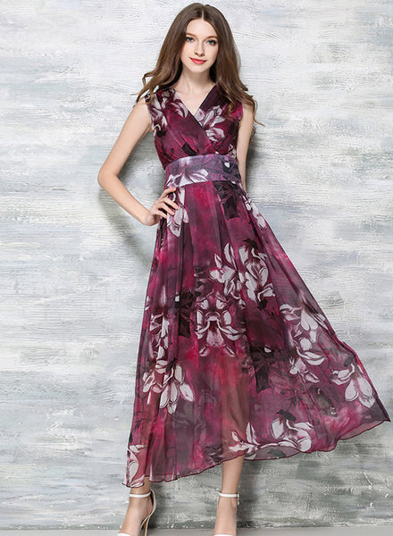 Bohemian Style Chiffon Sleeveless Maxi Dress - girlyrose.com