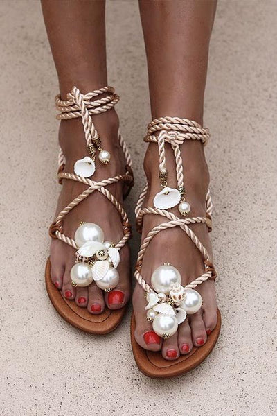 Pearl Lace Up Flat Sandals - girlyrose.com