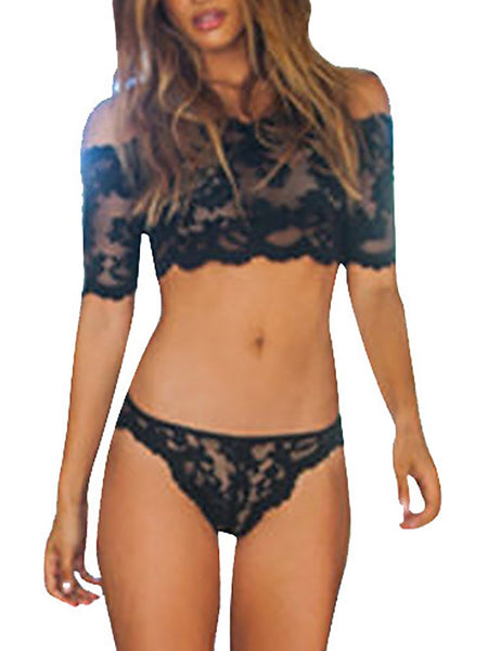 Women Black Cropped Lace Lingerie Set - girlyrose.com