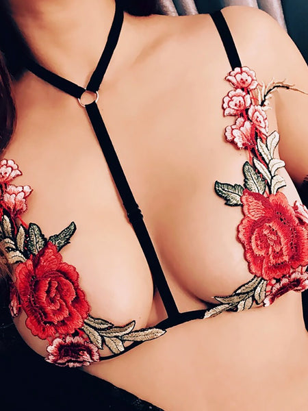 Stretchy Strappy Embroidered Bra Lingerie