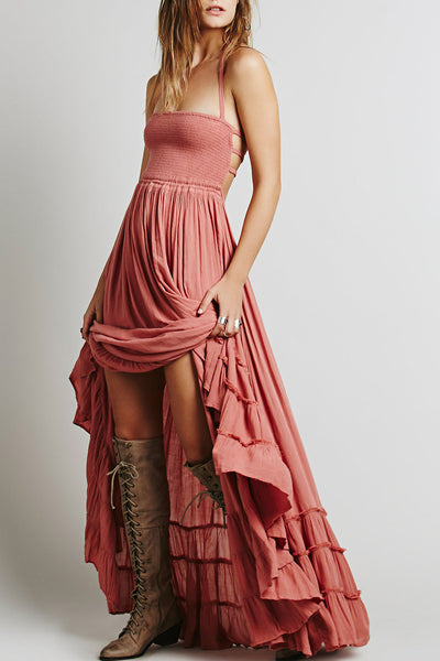 Casual Solid Halter Backless Maxi Dress - girlyrose.com