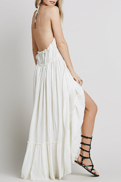 Casual Solid Halter Backless Midi Beach Dress - girlyrose.com