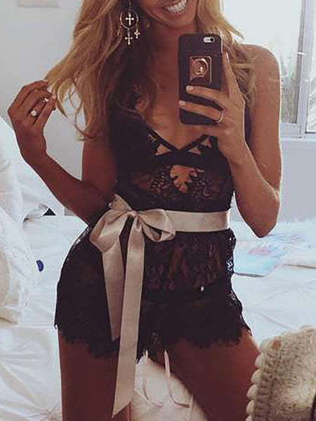 Seductive See Through Lace Trim Lingerie Romper