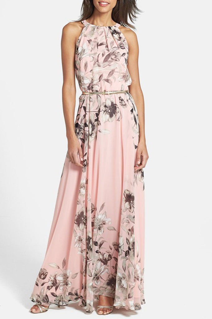 Charming Floral Printed Sleeveless Maxi Dress - girlyrose.com