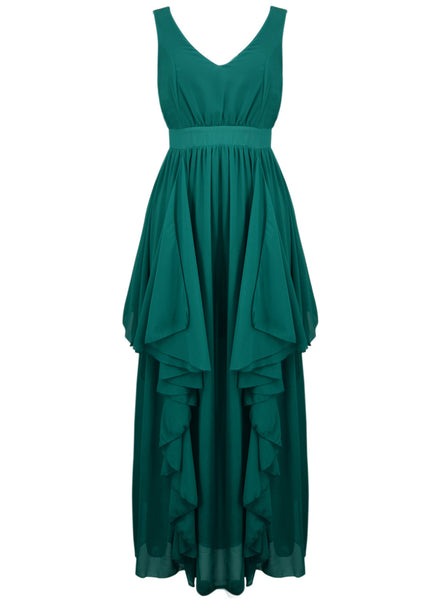 Chic Deep V Flouncing Chiffon Party Dress - girlyrose.com
