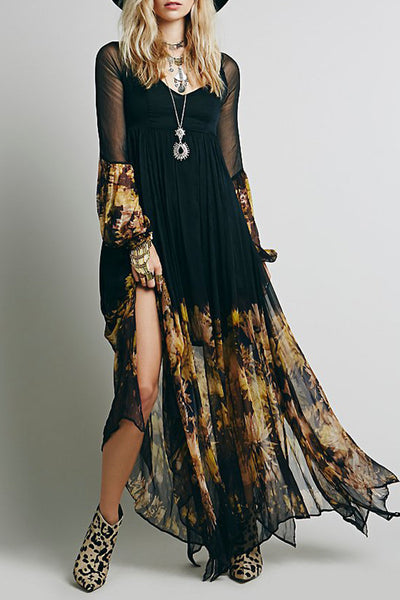 Chic Floral Printing Maxi Chiffon Dress - girlyrose.com