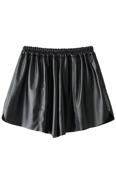 Classic PU Leather Elastic Waist Shorts