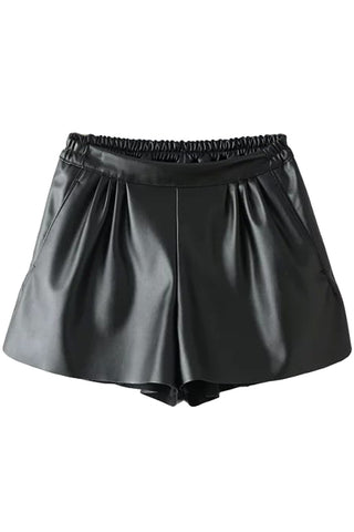 Classic PU Leather Elastic Waist Shorts - girlyrose.com