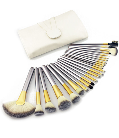 24 piece professional cosmetics foundation makeup brush set - girlyrose.com