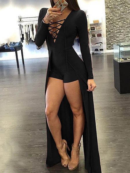Sexy Lace-up Patchwork Maxi Romper Dress