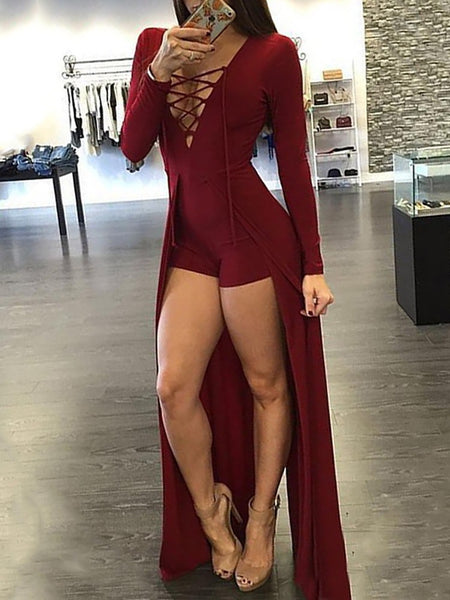 Sexy Lace-up Patchwork Maxi Romper Dress - girlyrose.com