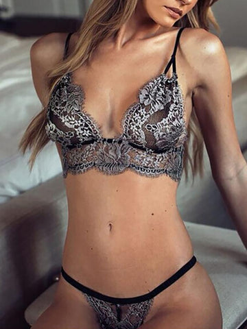 Hot Stretchy Strappy Lace Lingerie Set