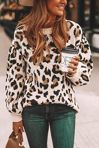 Leopard O Neck Sweater - girlyrose.com