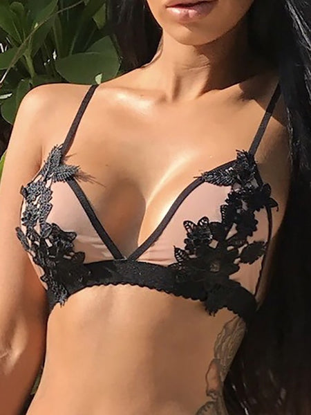 Sexy Contrast Binding Applique Strappy Bra Lingerie