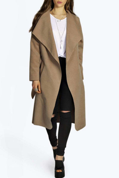 Elegant Solid Color Turn Down Collar Belted Coat - girlyrose.com