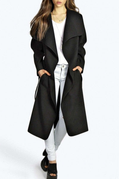 Elegant Solid Color Turn Down Collar Belted Coat
