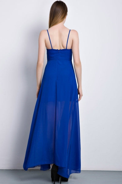 Eye-catching Strap Chiffon Maxi Dress - girlyrose.com