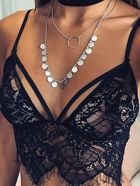Women Sexy Lace Hollow Out Crop Bra Tops - girlyrose.com