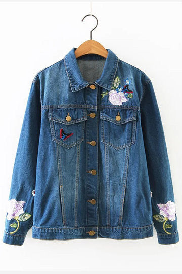 Blue Long Sleeves Floral Print Pattern Denim Jacket