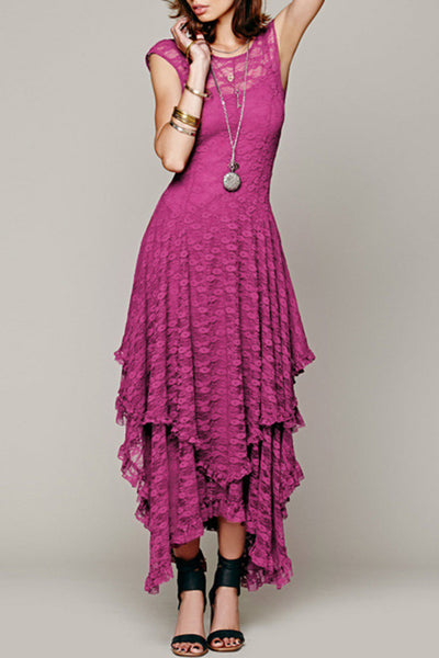 Fashion Crochet Lace Asymmetrical Dress - girlyrose.com