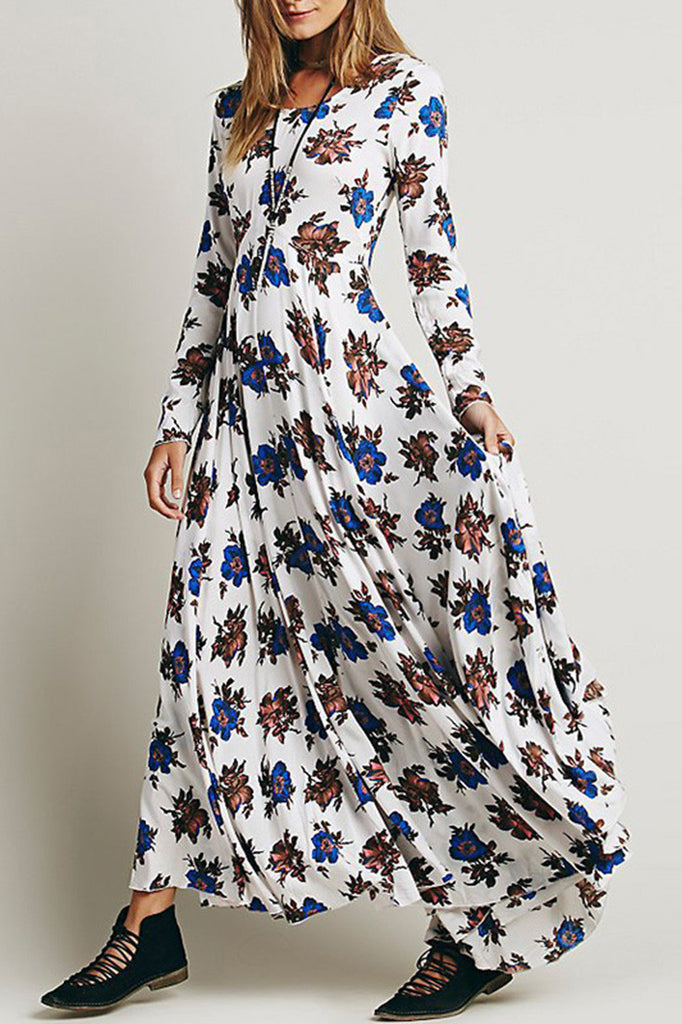 Fashion Floral Printing Maxi Dress - girlyrose.com