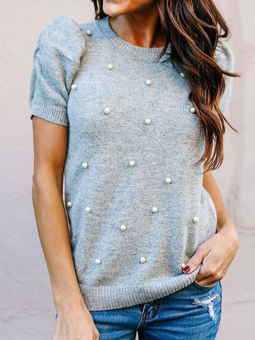 Cute Ocean Blue Pearl Short Sleeve Round Neckline Sweater