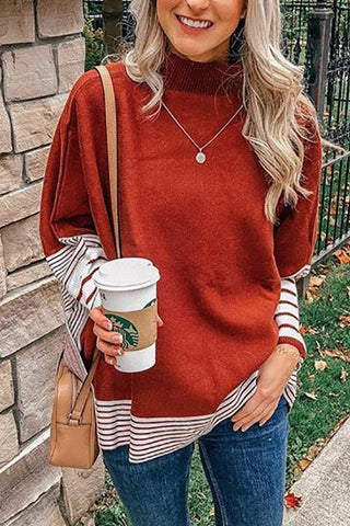 Stripe Turtleneck Cloak Sweater - girlyrose.com
