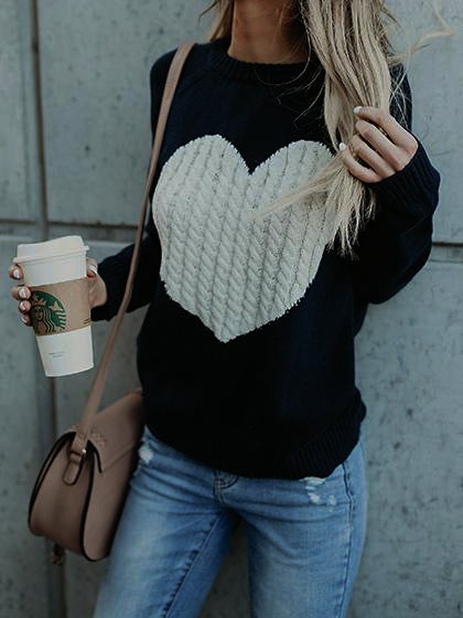 Cute Heart Jewel Sweater - girlyrose.com
