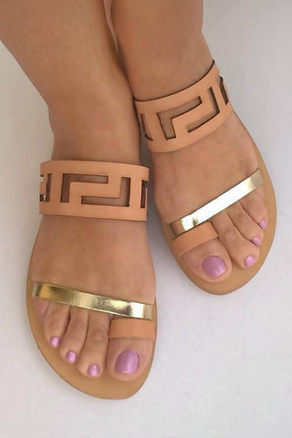 Open Toe Flat Sandals - girlyrose.com