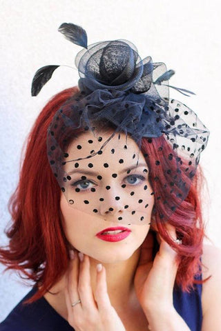 Dot Veil Feather Fascinator - girlyrose.com