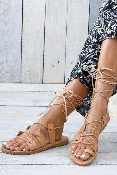 Cross Straps Hollow Gladiator Flat Sandals - girlyrose.com